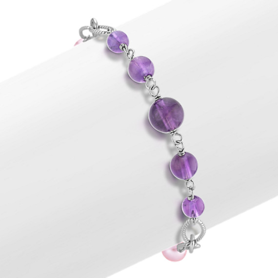 5-8mm Cultured Freshwater Pearl and Amethyst Bracelet (7.5 in)