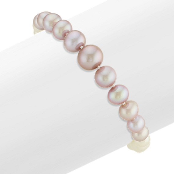 5-9.5mm Graduated White and Lavender Freshwater Pearl Bracelet (8 in)