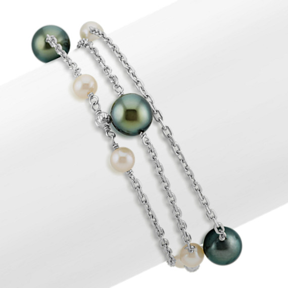 5.5-10mm Cultured Tahitian and Freshwater Pearl Bracelet (8 in)