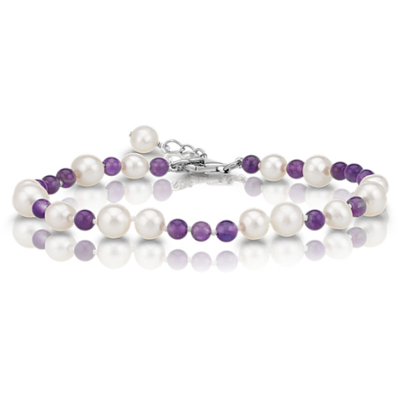 6-7.5mm Cultured Freshwater Pearl and 4mm Amethyst Bead Bracelet (7.5 in) image
