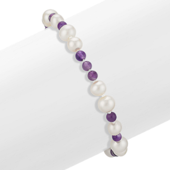 6-7.5mm Cultured Freshwater Pearl and 4mm Amethyst Bead Bracelet (7.5 in)