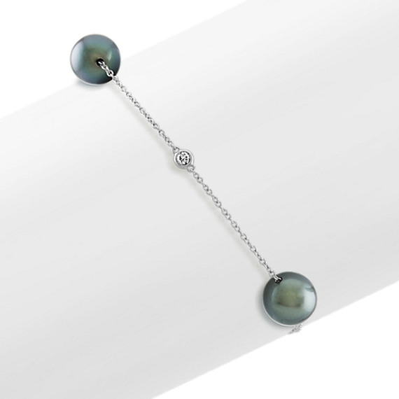 8mm Tahitian Pearls and Diamond Bracelet (7 in)
