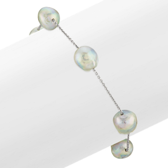 9mm Cultured Natural Blue Akoya Pearl Tin Cup Bracelet (7 in)
