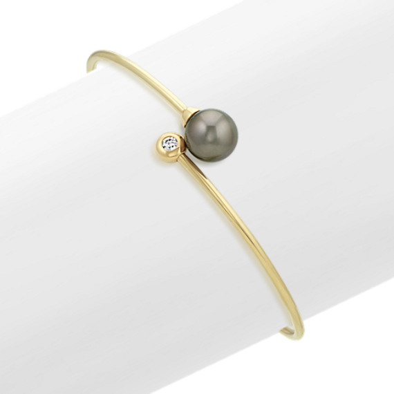 9mm Tahitian Pearl and Diamond Bangle Bracelet (7 in)