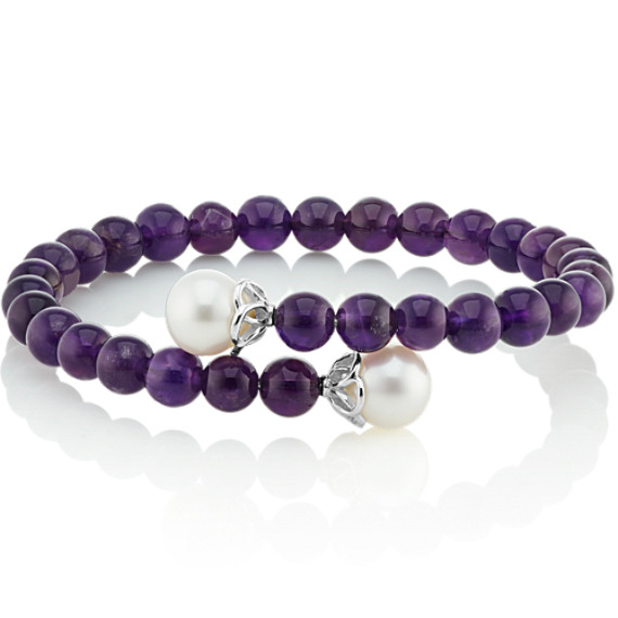 Amethyst and 9mm Cultured Freshwater Pearl Bangle Bracelet (7 in) image