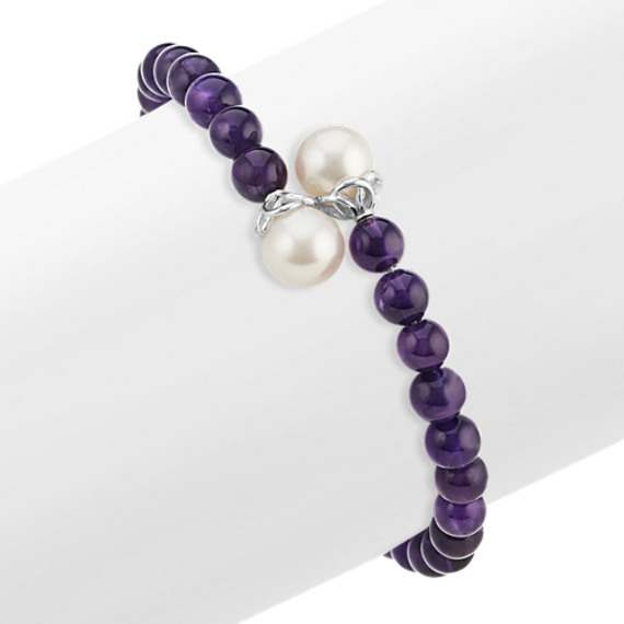 Amethyst and 9mm Cultured Freshwater Pearl Bangle Bracelet (7 in)