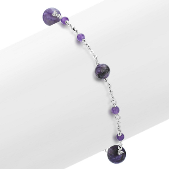 Amethyst and Charoite Bracelet in Sterling Silver (7.5 in)