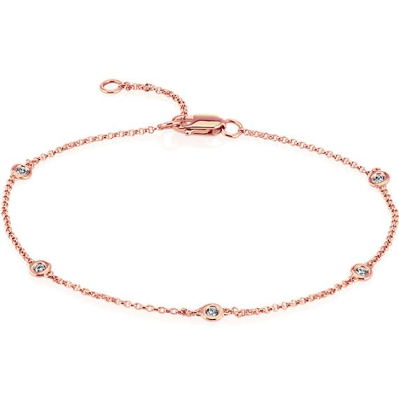 Bezel-Set Diamond Bracelet in 14k Rose Gold (8 in)