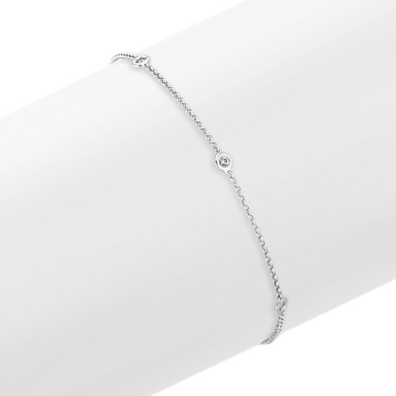 Bezel-Set Diamond Bracelet in 14k White Gold (8 in)