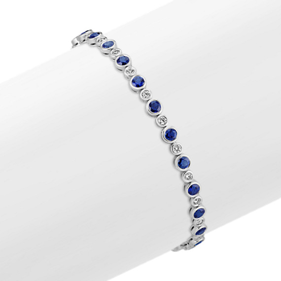 Bezel-Set Round Sapphire and Diamond Bracelet (7 in)
