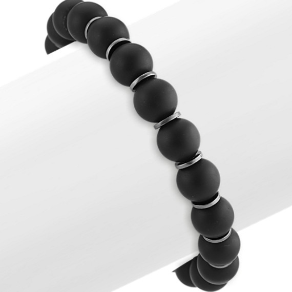Black Agate Mens Bracelet (8 in)