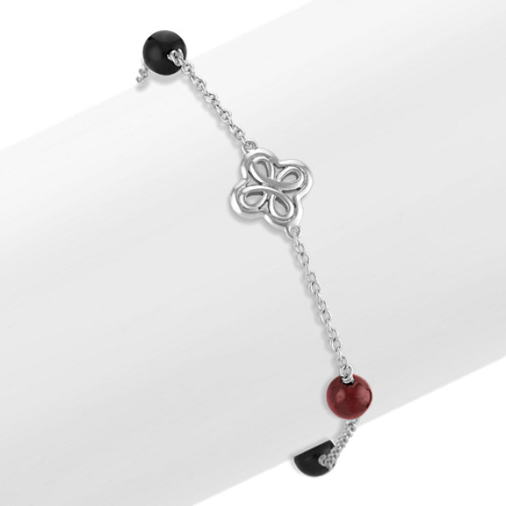 Black Agate and Red Garnet Bracelet in Sterling Silver (7 in)