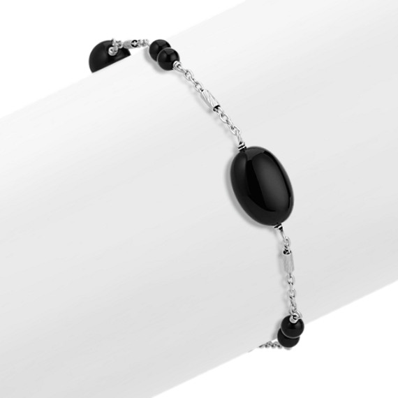 Black Agate and Sterling Silver Bracelet (7.5 in)
