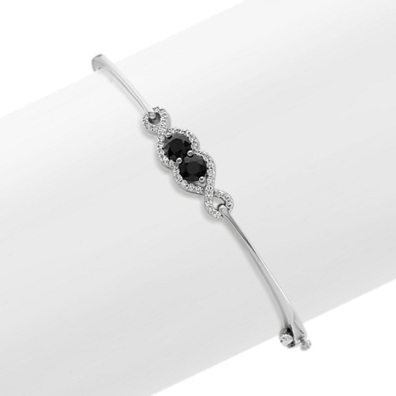 Black Sapphire and Diamond Bangle Bracelet in Sterling Silver (7 in)