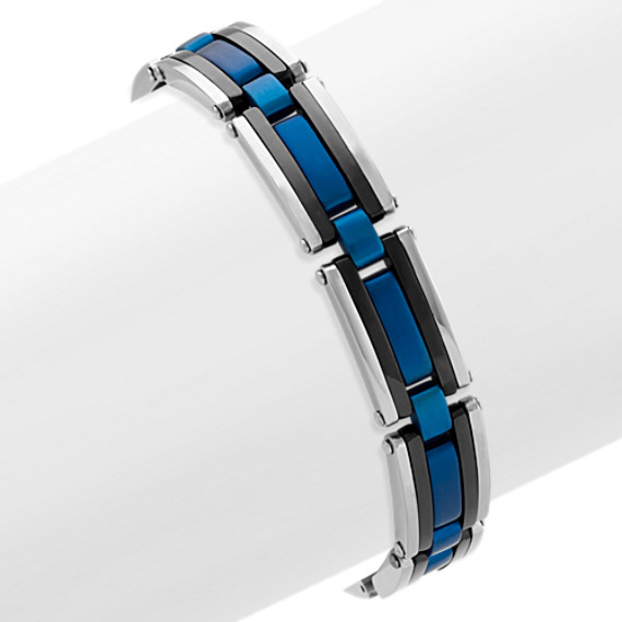Blue and Black Stainless Steel Adjustable Bracelet (7.5 in)