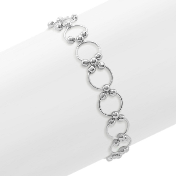 Circle and Bead Bracelet in Sterling Silver (7.5 in)