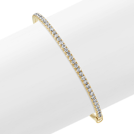 Classic Diamond Bangle Bracelet in 14k Yellow Gold (7 in)