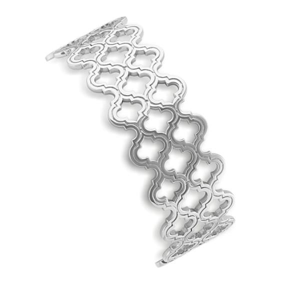 Cutout Sterling Silver Bangle Bracelet (7 in)