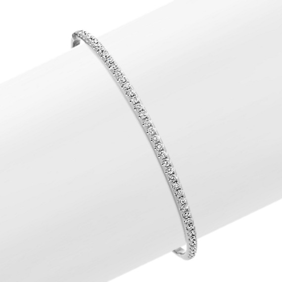 Diamond Bangle Bracelet in 14k White Gold (7 in)