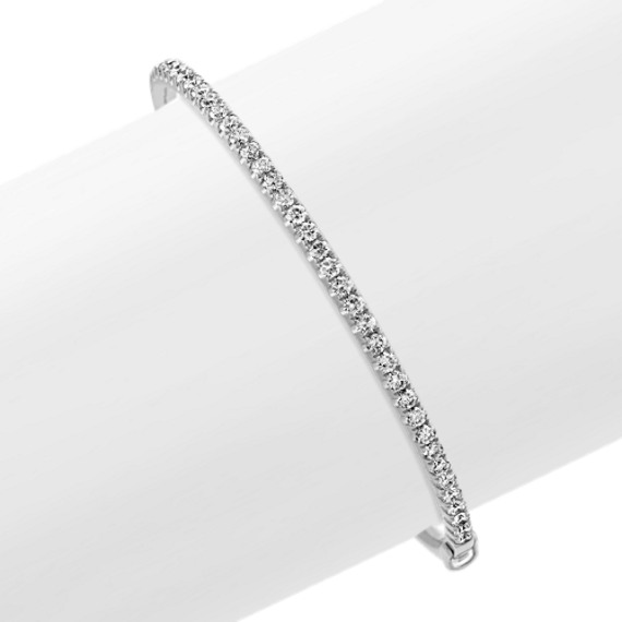 Diamond Bangle Bracelet in 14k White Gold (7 in)