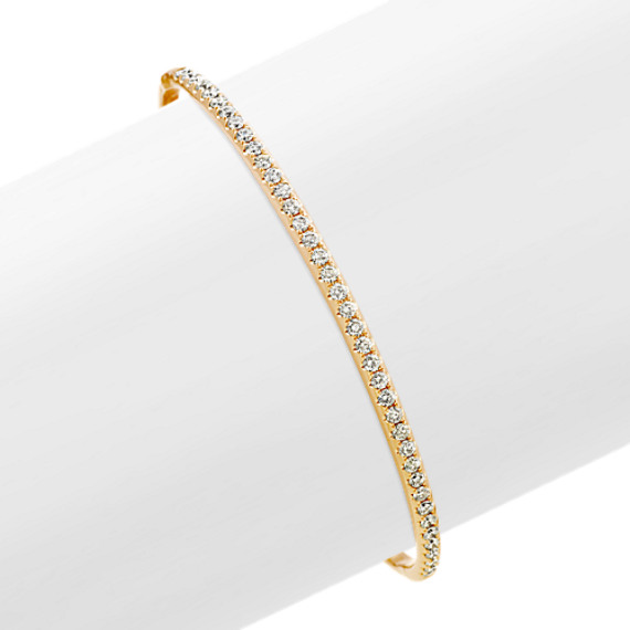 Diamond Bangle Bracelet in 14k Yellow Gold (7 in)