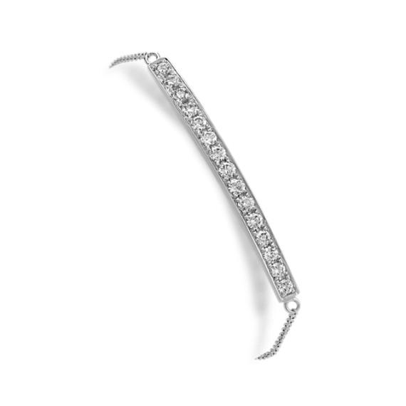 Diamond Bar Bracelet in 14k White Gold (7 in)