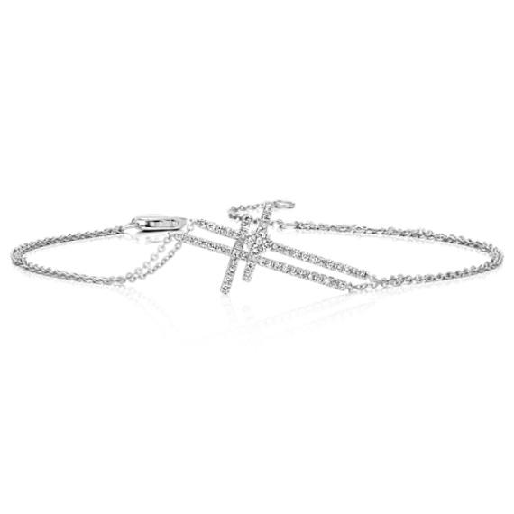 Diamond Double Cross Bracelet (8 in)