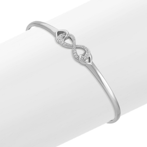 Diamond Infinity and Heart Bracelet in Sterling Silver (7.5 in)