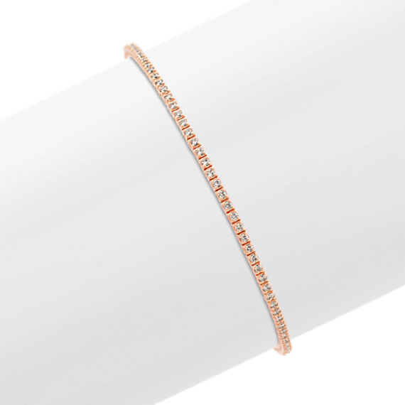 Diamond Lined Bracelet in 14k Rose Gold (7 in)
