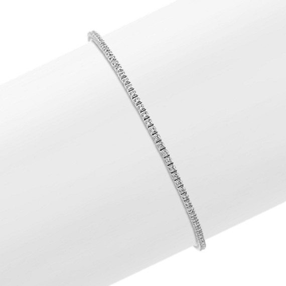Diamond-Lined Bracelet in 14k White Gold (7 in)