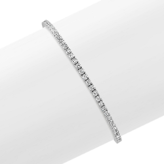 Diamond Lined Bracelet in 14k White Gold (7 in)