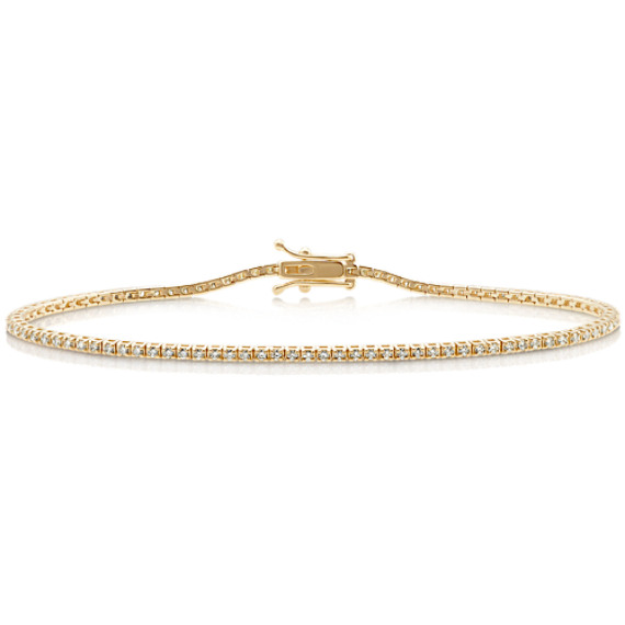 Diamond Lined Bracelet in 14k Yellow Gold (7 in) image