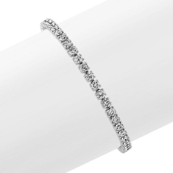 Diamond-Lined Tennis Bracelet in Platinum (7 in)