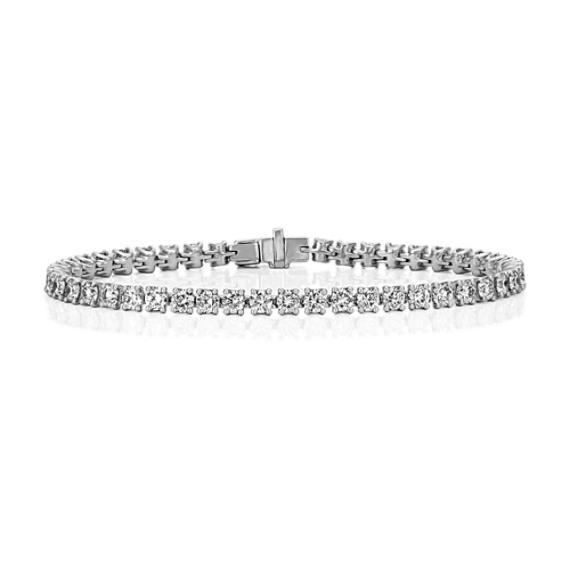 Diamond-Lined Tennis Bracelet in Platinum (7 in)