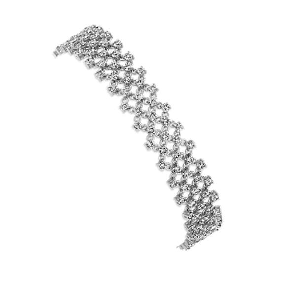 Diamond Mesh Bracelet in 14k White Gold (7 in)