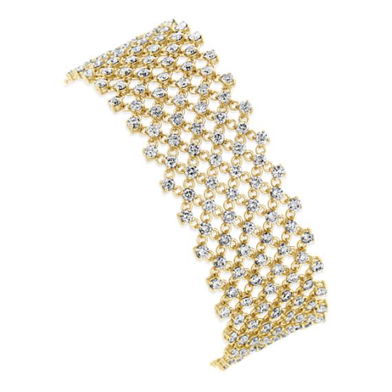 Diamond Mesh Bracelet in 14k Yellow Gold (7 in)