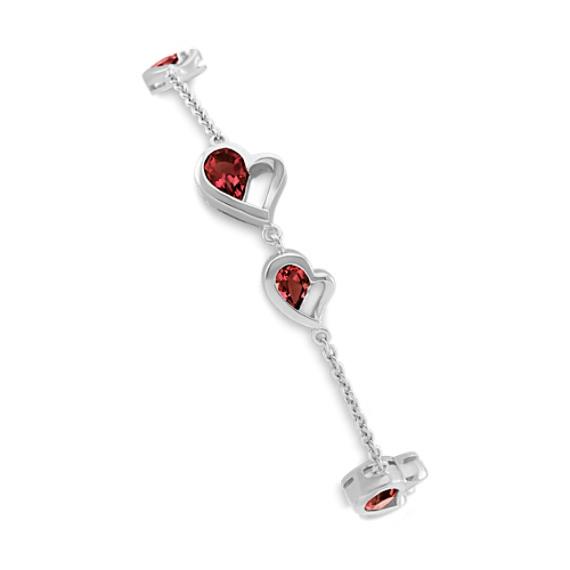 Double-Heart Bracelet with Pear-Shaped Garnet in Sterling Silver (7.5 in)