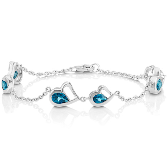 Double-Heart Bracelet with Pear-Shaped London Blue Topaz (7 in) image