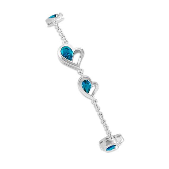 Double-Heart Bracelet with Pear-Shaped London Blue Topaz (7 in)