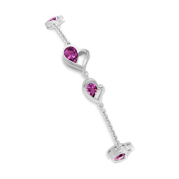 Double-Heart Bracelet with Pear-Shaped Rhodolite Garnet (7.5 in)