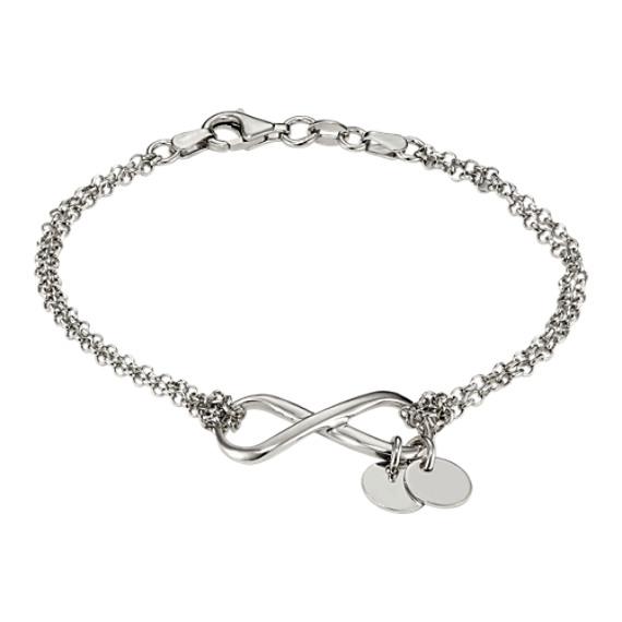 Engravable Infinity Bracelet in Sterling Silver (7.5 in)
