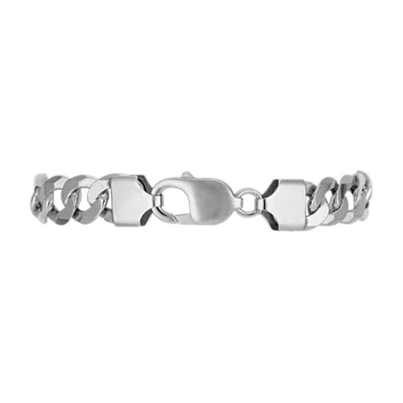 Engravable Sterling Silver Figaro Bracelet (8.5 in) image