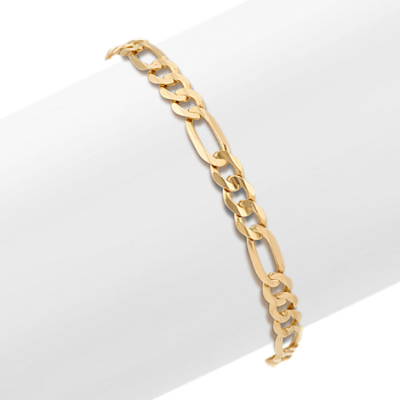 Figaro Bracelet in 14k Yellow Gold (9 in)