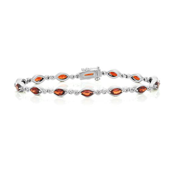Garnet and White Sapphire Bracelet (7 in)
