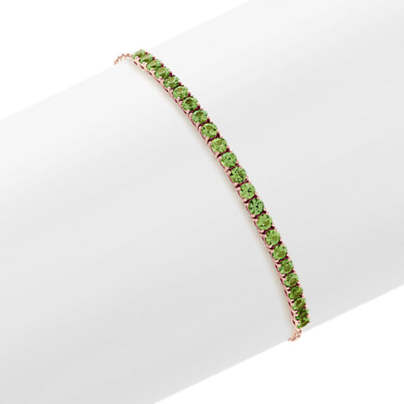 Green and White Sapphire Bolo Bracelet (8 in)
