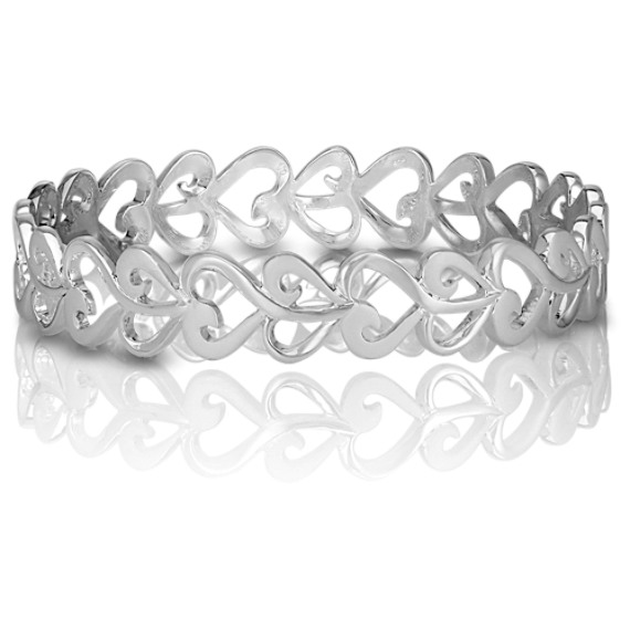 Heart Bangle Bracelet in Sterling Silver (7 in) image