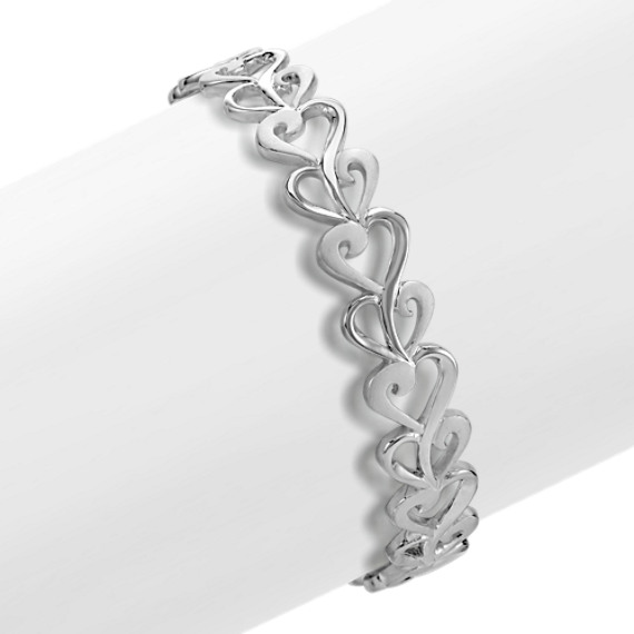 Heart Bangle Bracelet in Sterling Silver (7 in)