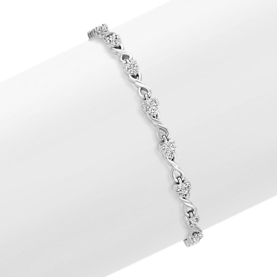 Heart And Swirl Infinity Round Diamond Bracelet In 14k White Gold