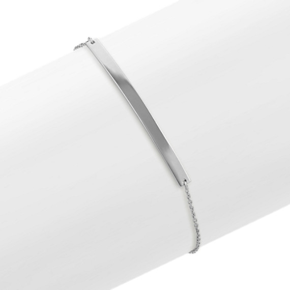 Horizontal Bar Bracelet in 14k White Gold (7 in)