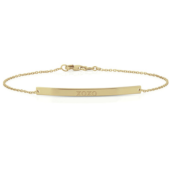 Horizontal Bar Bracelet in 14k Yellow Gold (7 in)